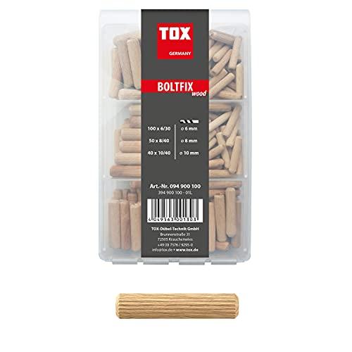 TOX Holzdübel Sortiment Boltfix wood 100x 6x30 mm, 50x 8x40 mm, 40x 10x40 mm, Riffeldübel aus massiver Buche, 190 tlg., 094900100