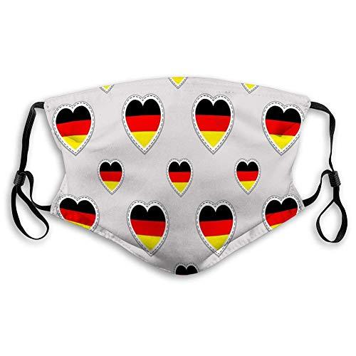 Unisex mondmasker gezichtsmasker polyester Duitsland Duitse vlag Stiker Love Hearts symbolen GOO