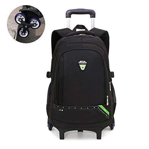 LMJ-Tasche Trolley für Schulkinder Sekundarstufe 4-9 Schüler Abnehmbarer Rucksack mit doppeltem Verwendungszweck Sechs Räder Treppensteigen Handtasche,Grün