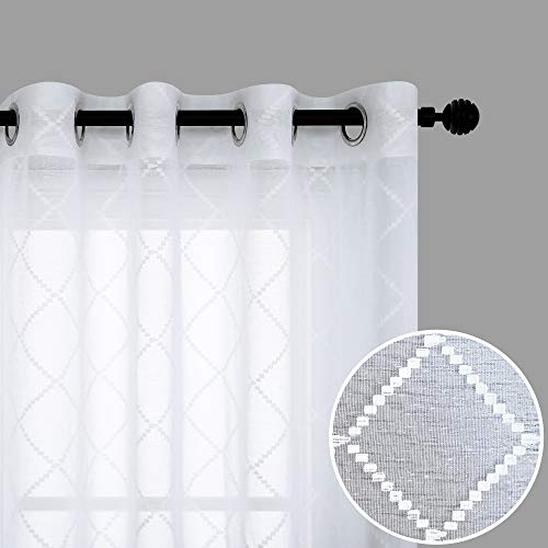 White Curtains 63 Inch Length for Dining Room Set 2 Panel Window Semi Sheer Grommet Light Filtering Linen Textured Luxury Embroidered Diamond Trellis Patterned Elegant Curtains for Living Room Kitchen
