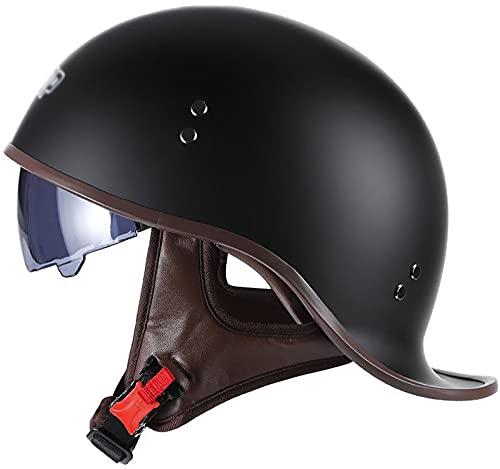 Vintage Casco De Motocicleta,con Visera Cascos Abiertos de Moto Casco Moto Jet ECE Homologado Half-Helmet,para Hombres/Mujeres Adultos Medio Casco H,XL 59-60