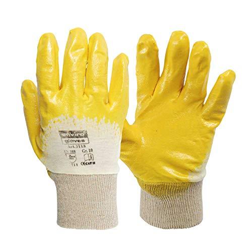 enviro GLOVE 12 Paar gelber Nitril-Handschuh - Größe 9 - sehr flexible Arbeitshandschuhe - Öl- und Fett abweisend - Schutzhandschuhe nach Norm 388-3111