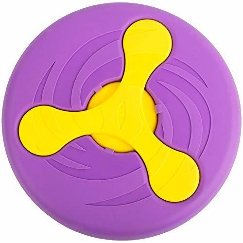 munloo Multifuncional Frisbee Perro Comedero Perro 2-en-1,Disco Volador, Frisbee Ultimate,Juguetes para Perros de Entrenamiento Duradero para Mascotas,Interactivo al Aire Libre (Purple)