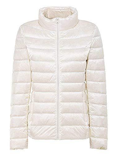 ダウンジャケット レディース 軽量 ショート 暖かい ウルトラライト コンパクト収納 ダウン コート おしゃれ 防風 防寒 暖かい 収納袋付き 襟 白 ホワイト M