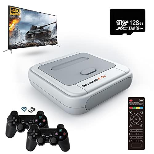 Super Console X Pro Consola de videojuegos retro,41000 juegos clásicos incorporados,Con dos controladores inalámbricos,Soporta salida 4K,Soporta 5 jugadores,El regalo ideal para adultos y niños
