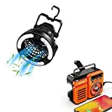 Raddy CF2 Portable Camping Fan with LED Lantern Battery Powered + Raddy RW3 Emergency Hand Crank Radio Solar Powered Battery Operated with Phone Charger (Orange)