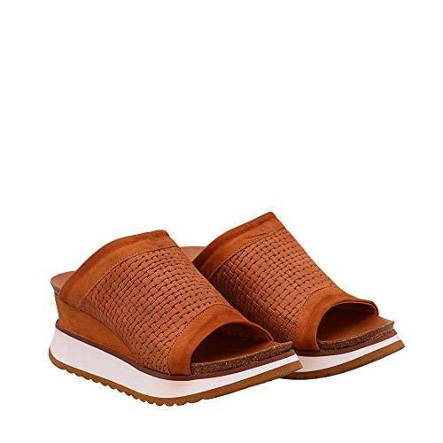 Felmini - Zapatos para Mujer - Enamorarse com Karen B708 - Zuecos con Tacones - Cuero Genuino - Marrón Claro - 39 EU Size