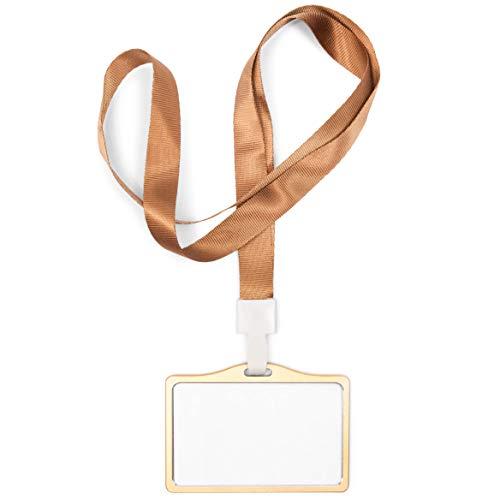 Juvale ID Badge Holder with Lanyard, Horizontal (Aluminum, Gold, Pack of 10)