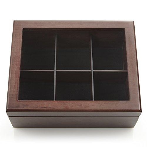Apace Living Tee Box Luxeriöse Tee Aufbewahrung Box Holz – 6 Fächer für die Aufbewahrung von Teebeuteln - Handgefertigte Teebox mit kratzfestem Sichtfenster – Elegante Teebeutel Aufbewahrungsbox