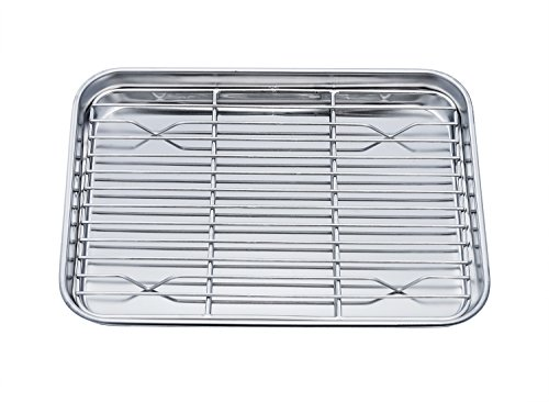 TeamFar Toaster Oven Pan Tray with Cooling Rack, Stainless Steel Toaster Ovenware broiler Pan, Compact 8''x10''x1'', Healthy & Non Toxic, Rust Free & Easy Clean - Dishwasher Safe