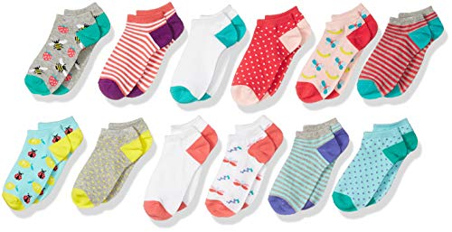 Amazon Brand - Spotted Zebra Kids Girls Ankle Socks, 12-Pack Fruit,...