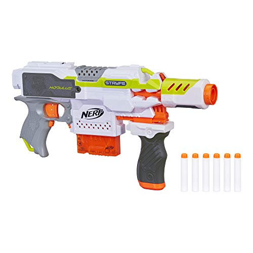 NERF Modulus Motorized Toy Blaster with Drop Grip, Barrel Extension, 6-Dart Clip, 6 Official Darts for Kids, Teens, and Adults C3583F07 (Amazon Exclusive)