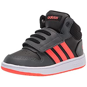 adidas Kids Hoops 2.0 Mid Basketball Shoe, Black/Solar Red/Grey, 9 US Unisex Toddler
