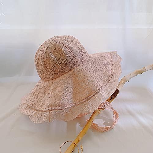 QAZW Sombrero para El Sol De ala Ancha para Mujer Sombrero De Verano para La Playa Sombrero para El Sol Sombrero Plegable para El Sol Gorros De Playa para Protección Solar,Pink-1