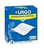 Urgo - Compresses stériles - Non tissées - Boîte de 10 sachets de 2 compresses - 7,5cm x 7,5cm