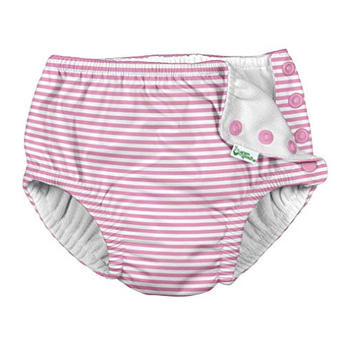 i play. by green sprouts Baby Girls Snap Reusable Swim Diaper, Light Pink Pinstripe, 6mo