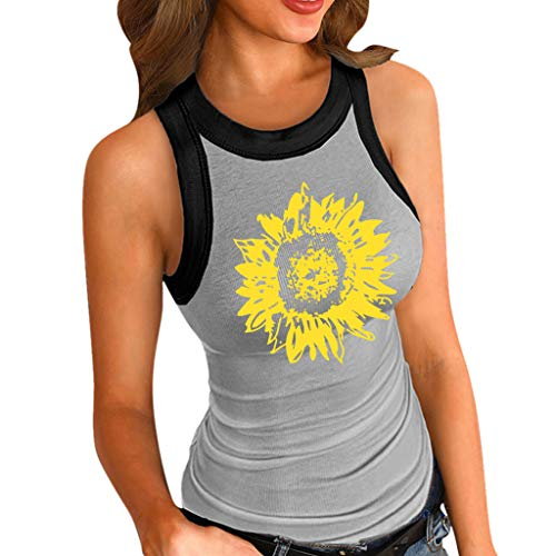 Buy Discount Toimothcn Women Slim Tank Tops Sunflower Print Stretch Round Neck Basic Vest Tank Top(M...