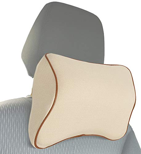 MyGadget Auto Nackenkissen Kopfstütze - Kissen aus Memory Schaum Nacken Stütze beim Fahren - Ergonomische Autositz Nackenstütze Abnehmbarer Bezug Beige