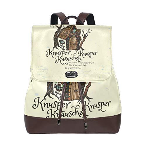 Witch S House The Children Rucksack Geldbörse Mode PU Leder Rucksack Casual Rucksack für Frauen