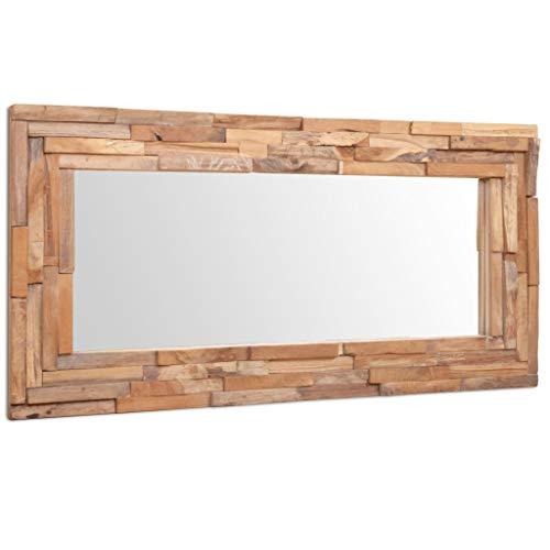 vidaXL Teak Dekorativer Spiegel Handgefertigt mit 4 Aufhängehaken Holzspiegel Wandspiegel Flurspiegel Dekospiegel Hängespiegel 120x60cm