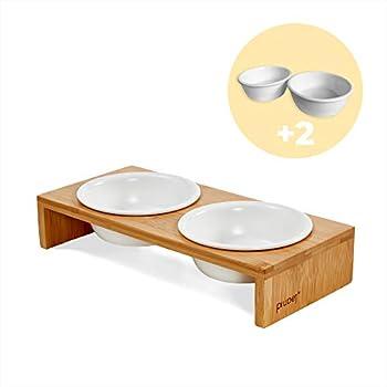 PiuPet® Gamelle Chat - Bol pour Chats et Petits Chiens - Bol pour Chats avec Cadre en Bambou élégant - Station d'alimentation surélevée pour Chats (4 Bols)