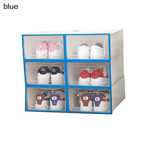 Weier. Ben 6PCS/Set Stapelbare Opbergdoos Schoen Verdikte Flip Schoenen Transparante Lade Case Plastic Schoenen Boxen Opslag Organizer-24x34x14cm_Blue
