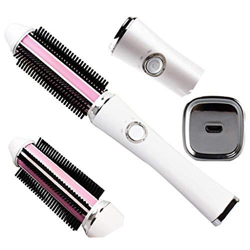 Haar-Lockenstab, kabelloser USB-wiederaufladbarer Haarglätter One-Step-Haartrockner und Gerät für Überfluss, Glätteisen-Styling-Lockenbürste für schnelles Aufheizen, 60x24mm
