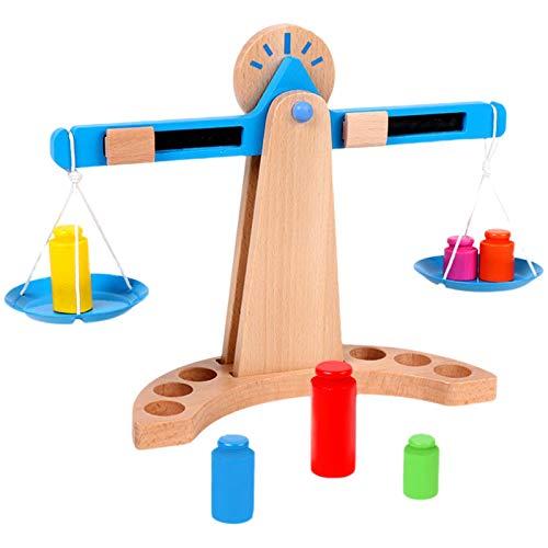 DUTUI Juguete De Balanza De Madera para Niños, Juego De Pesaje Y Equilibrio, Juego De Juguetes Cognitivos Intelectuales De Educación Temprana para Niños 10PCS