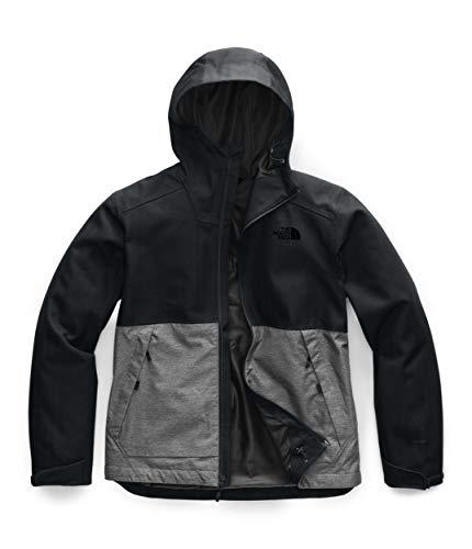 The North Face Men's Millerton Waterproof Rain Jacket, TNF Black Herringbone/TNF Medium Grey Heather Dobby, 2X