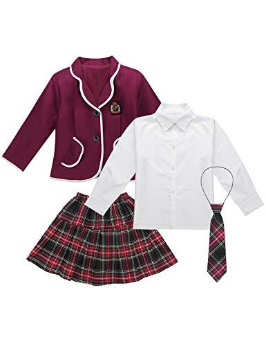 FEESHOW 4 PCS Mädchen Schuluniform Japan Anime Kostüm Set Anzug Jacke + Hemd + Krawatte + Mini Karierter Rock Kinder Chor Party Schule Cosplay Outfit Burgundy 128-140