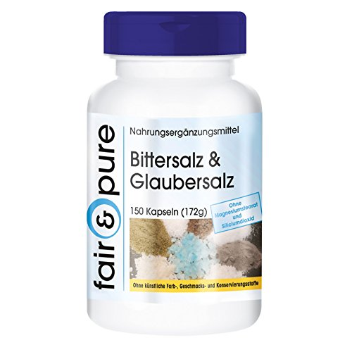Bittersalz & Glaubersalz - Magnesiumsulfat und Natriumsulfat - vegan - 150 Kapseln - ohne Magnesiumstearat