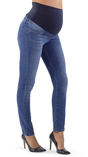 MAMAJEANS Jeans Premaman, Colorazione Media Super Elastico e Comodo, con Fascia in Morbido Jersey, Slim (42 IT, Medio)
