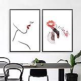 """Lienzo de labios rojos Cuadro de maquillaje de moda Cuadro de arte de pared Impresión de póster Sea usted mismo como si citara Impresiones de arte 15.7 """"x 23.6"""" (40x60cm) x2 Sin marco"""