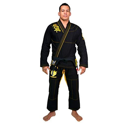 SHOGUN Fight Jiu Jitsu Gi Ultra Light 'Kanji' 350gsm Pearl Weave Cotton Premium BJJ Black and Gold A2