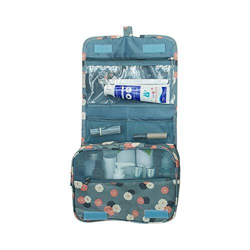 GmgodBolsa de aseo para colgar, organizador de viaje grande para maquillaje de cosméticos, color azul