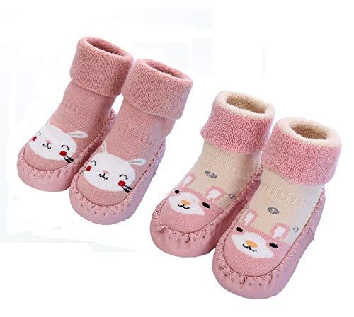 2 Paar Weiche Baby Hausschuhe Winter Socken Kleinkind Mädchen Hausschuhe...