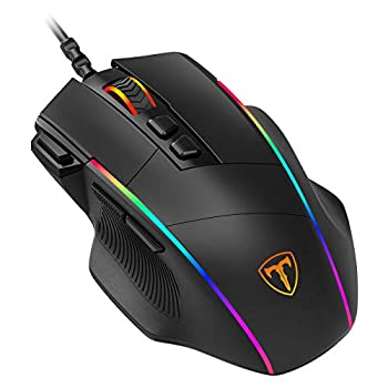 PICTEK Ergonomic Wired Gaming Mouse 8 Programmable Buttons  5 Levels Adjustable DPI up to 8000 Wired Computer Gaming Mice with 7 RGB Backlight Modes for PC Laptop MacBook