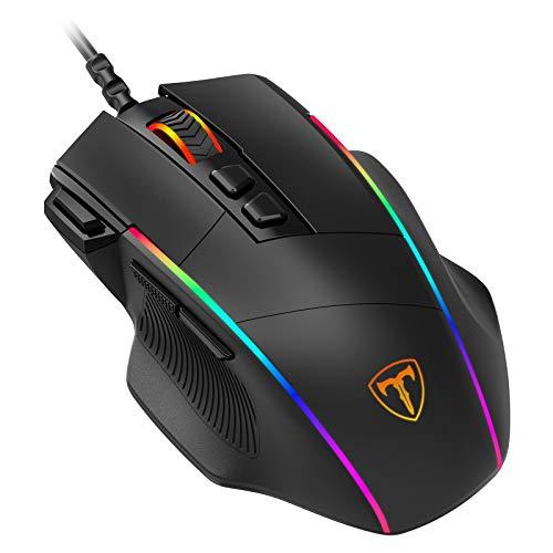 PICTEK Mouse Gaming, Mouse RGB Ergonomico da 8000 DPI (5 livelli), 8 Pulsanti Programmabili, 7 Modalità di Illuminazione RGB Personalizzabili, Mouse USB per PC, laptop, MacBook