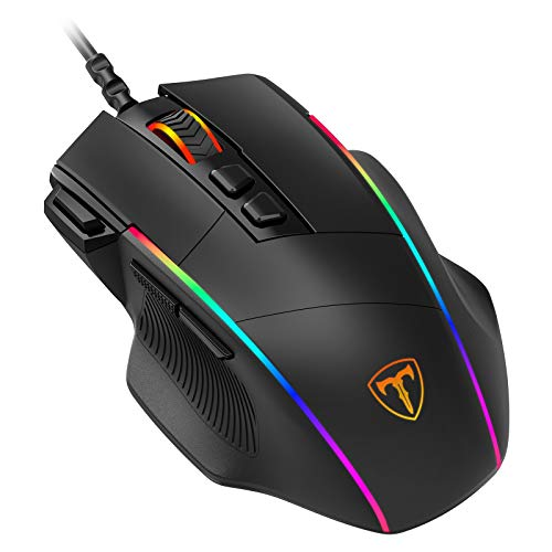 PICTEK Ergonomic Wired Gaming Mouse, 8 Programmable Buttons , 5 Levels Adjustable DPI up to 8000,...