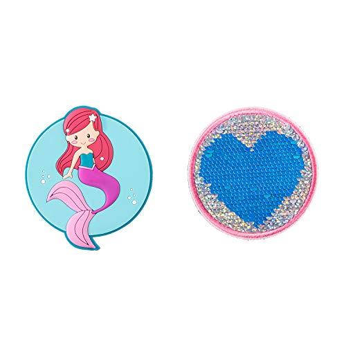 Plåster med kardborrband, sjöjungfru och hjärta, 2-pack, ca 7,5 cm diameter