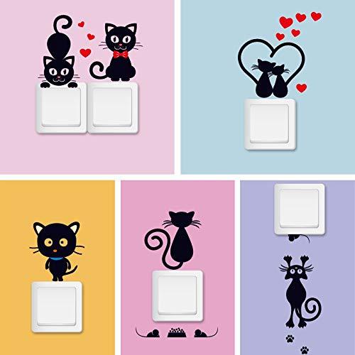BLOUR kat sticker voor muur schattige cartoon dier pegatinas op lichtschakelaar voor kinderkamer decoratie muurtattoos voor kinderen 5 stuks