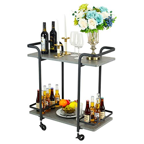 Jubao Serving Bar cart 2-Tier Storage Kitchen island Cart, Wine Trolley with Rolling Wheels with Handle Racks, Modern Beverage Cart with Black Finish Frame and Grey Finish Wood for Restaurant and Home