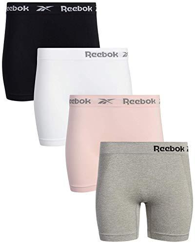 Reebok Women's Slipshorts - Long Leg Seamless Boyshorts (4 Pack), Size X-Large, Light Grey/White/Black