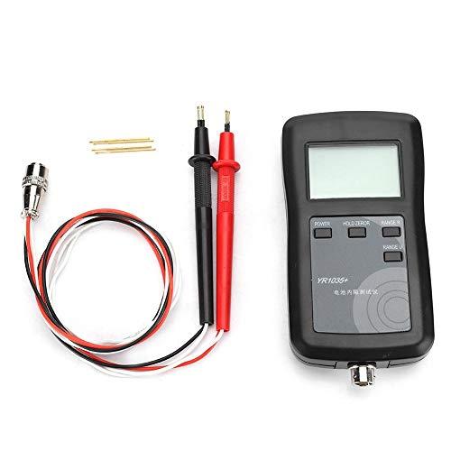 Sistema de 4 Cables YR1035 Batería Probador de Resistencia Interna con Cables Pantalla LCD para Plomo ácido, Iones de Litio, polímero de Litio, fosfato de Litio y Hierro, alcalino, batería Seca