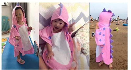 LINWX Fleck Dinosaurier Kid Ponchos/Kapuzen Kinder Badetuch/Kinder Strandtuch/Säuglings Ponchos, pink 55x115cm, pink 55x115cm