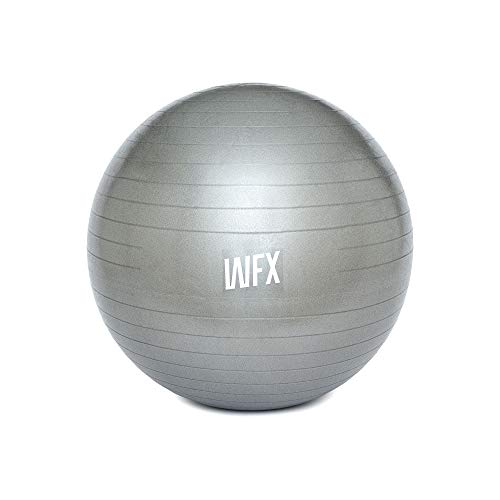 #DoYourFitness x World Fitness Gymnastik Ball Orion Ø 65 cm inkl. Luftpumpe - 100% Berstsicher - 150kg Belastbarkeit - robuster Sitzball, Bürostuhl, Fitnessball - Silber