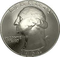 コンチョ 25セント ワシントン 1964年 (昭和39年) 銀貨 最終年号 ネジ式