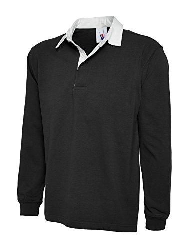 UC401 Uneek 330 gsm Premium Rugby Shirt - Schwarz, L