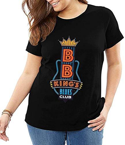 Qhghdgysd B.B. King's Blues Club Woman Plus Size Casual Loose Fit Short Sleeve Round Neck Shirt,Black,6X-Large