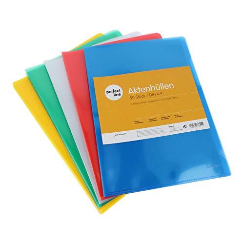perfect line 50 fundas para documentos A4, coloridas y transparentes, funda archivadora de colores, funda de documentos con abertura lateral y superior, 5 colores, láminas transparentes de plástico